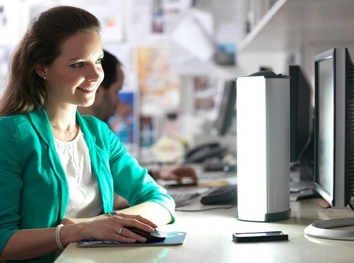 Lumie Brightspark bright therapy lamp on desk