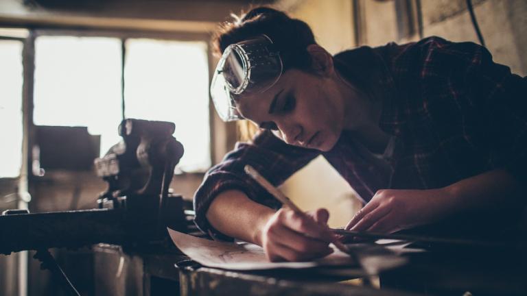 Woman working in practical job