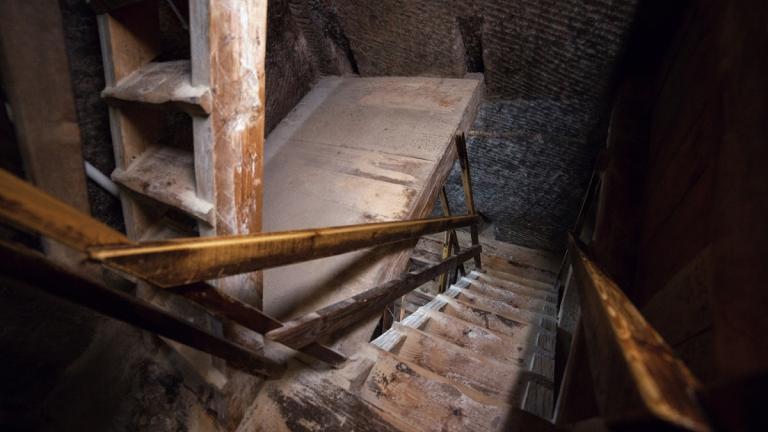 Wooden descent into bunker
