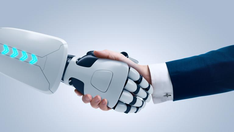 Robot and Business Man Shaking Hands