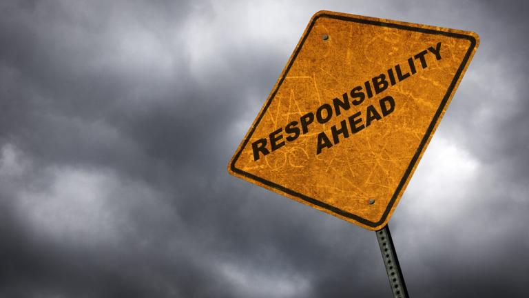 Responsibility ahead sign