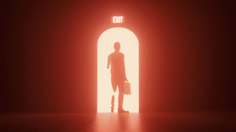 Man working through exit