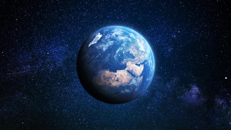 Blue earth in the sky
