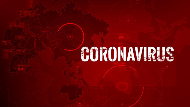 Coronavirus text outbreak with the world map and HUD circle element cyber futuristic concept
