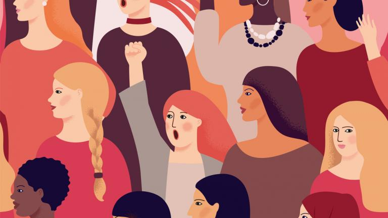 International Womens Day. Vector seamless pattern with women different nationalities and cultures. Struggle for freedom, independence, equality.