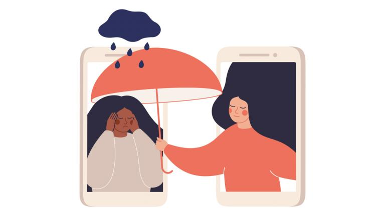 Girl comforts her sad friend over the phone illustration