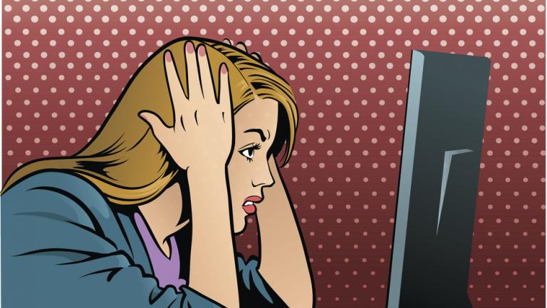 pop art illustration of frustrated women at computer screen