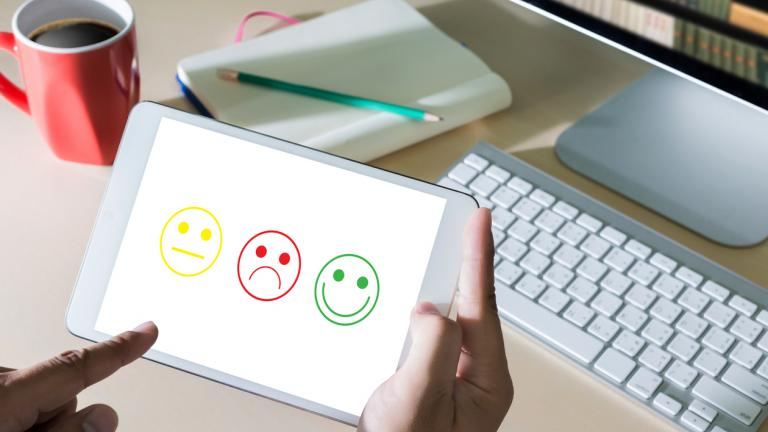 Business man and woman select happy on satisfaction evaluation