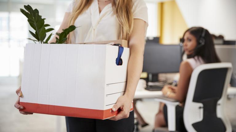 Woman leaving office