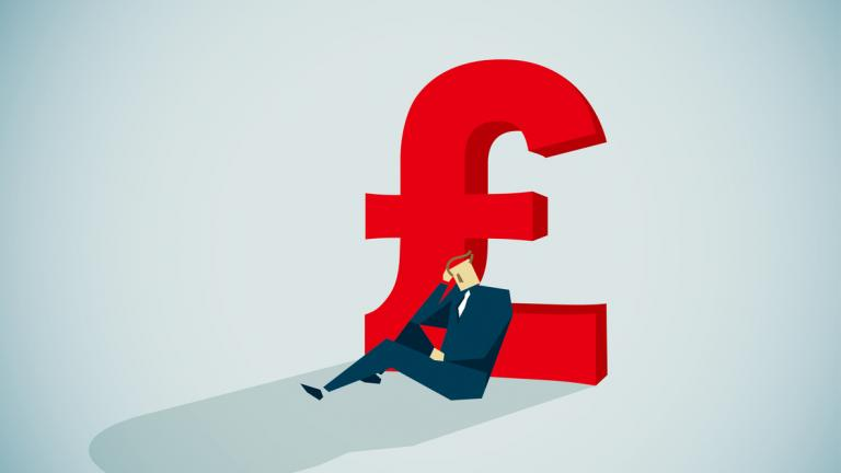 Graphic of man leaning against big pound sign