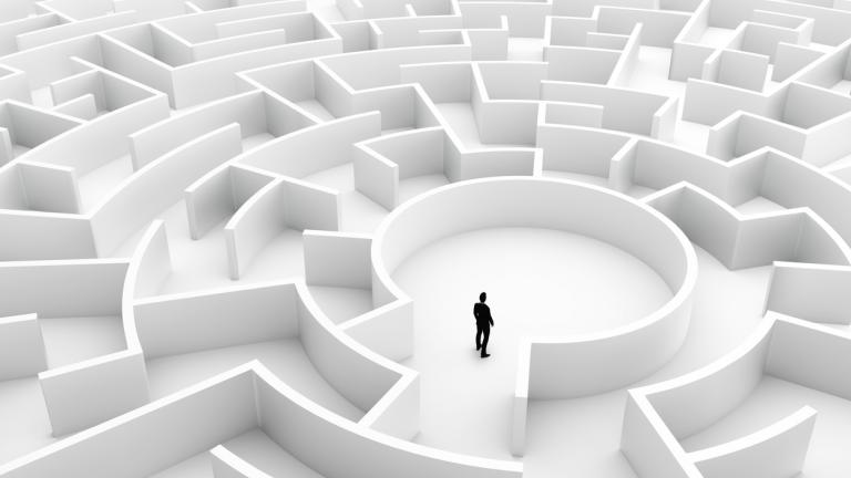 Businessman in the middle of the maze