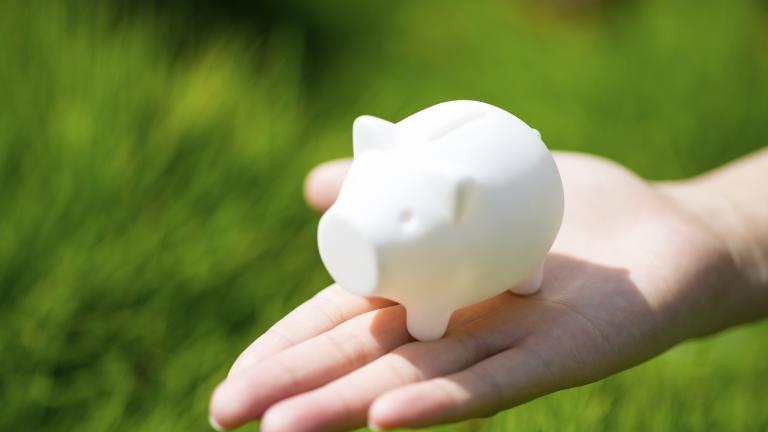 Lady holding piggy bank in hand