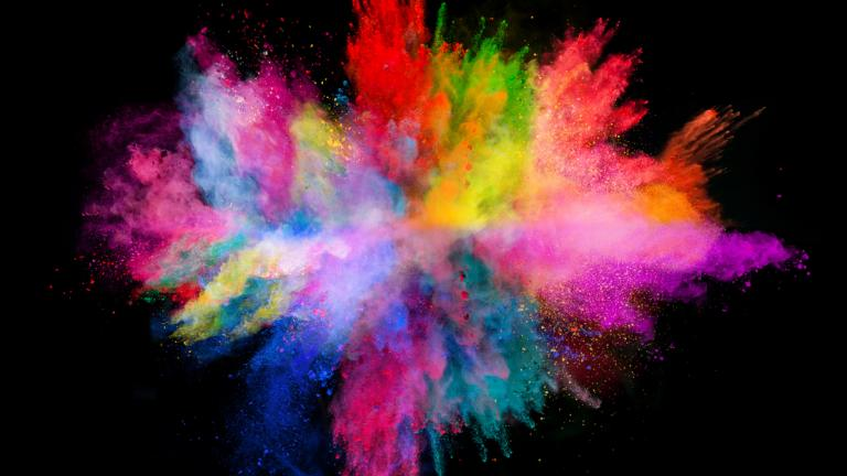 Creativity concept: Explosion of coloured powder