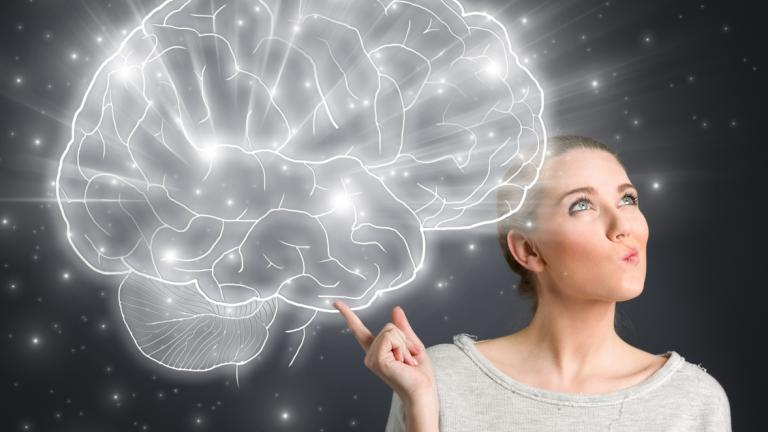 Woman thinking with brain graphic