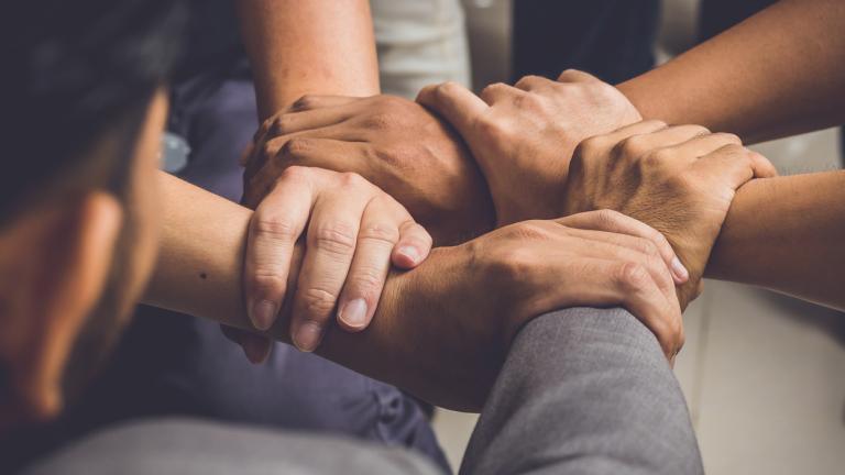 hands were a collaboration concept of teamwork