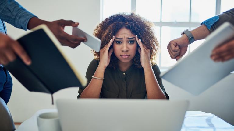 overworked female office worker