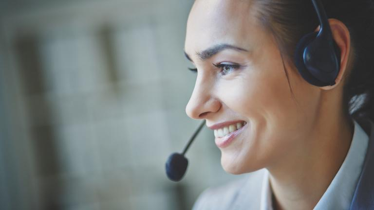 Smiling person on helpline