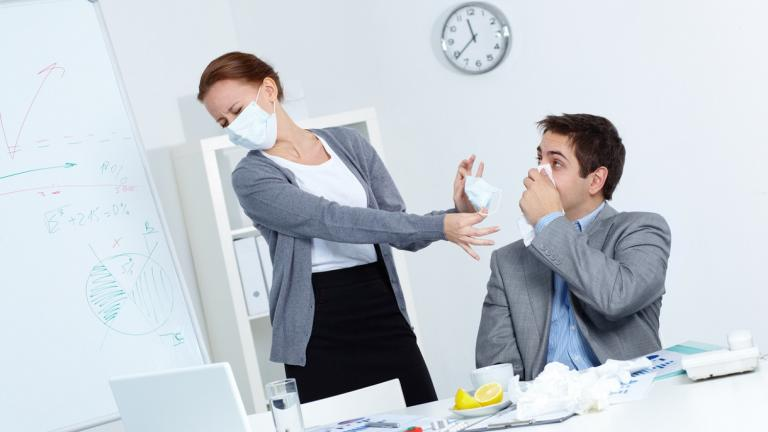 Person being ill at work
