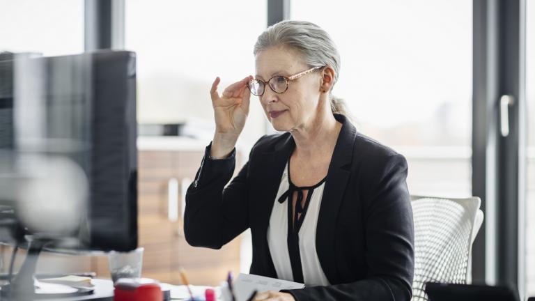 Older worker in office