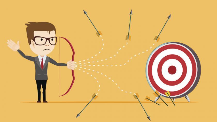 Businessman - loser shooting arrow