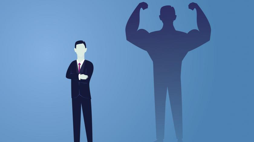 Promoting businessman to position of power graphic