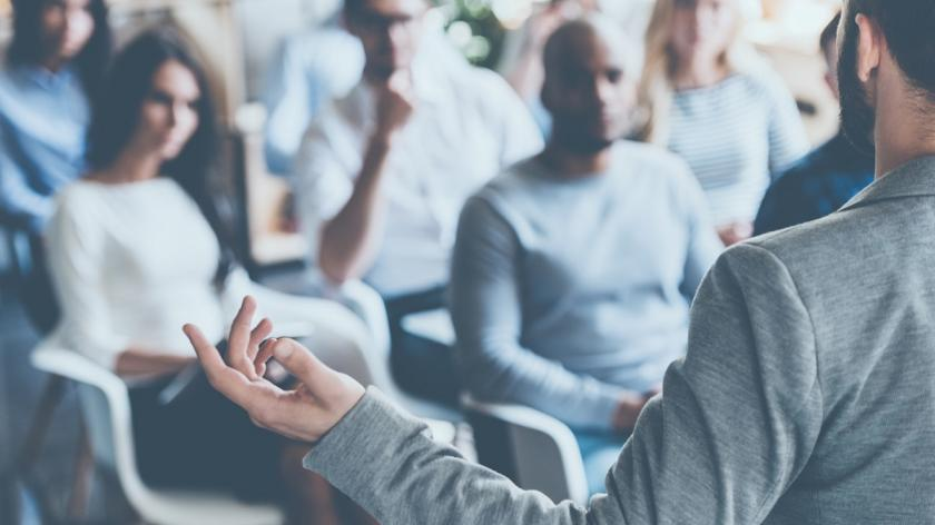 Confident person giving speech