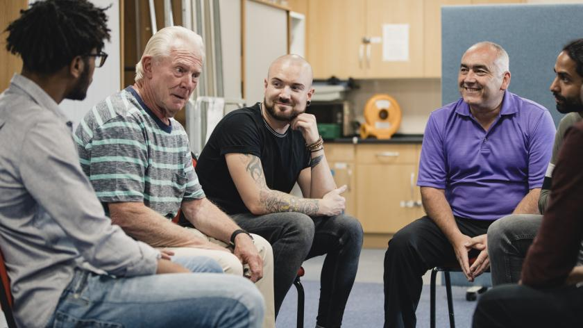 men in a support group