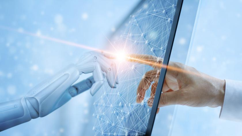 Hands of robot and human touching on global virtual network connection future interface. Artificial intelligence technology concep