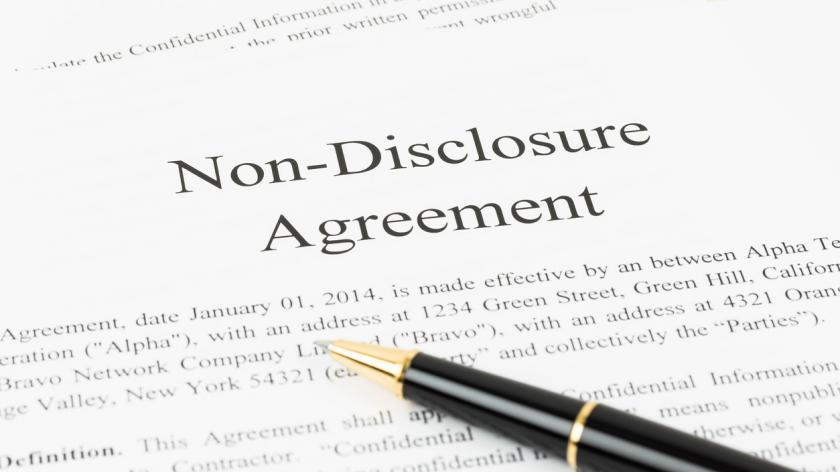 Non disclosure agreement document with pen stock photo
