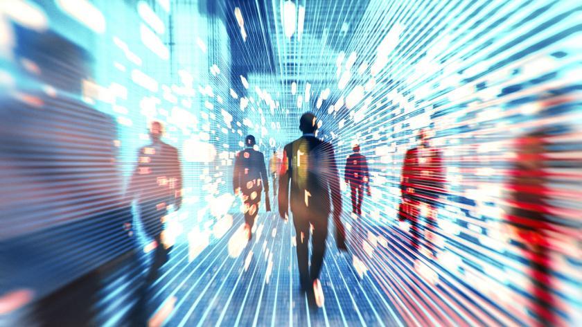 Futuristic VR businessmen