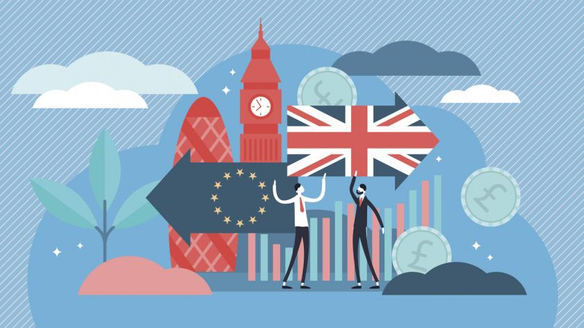 Brexit illustration showing arrows with EU flag and Union Jack