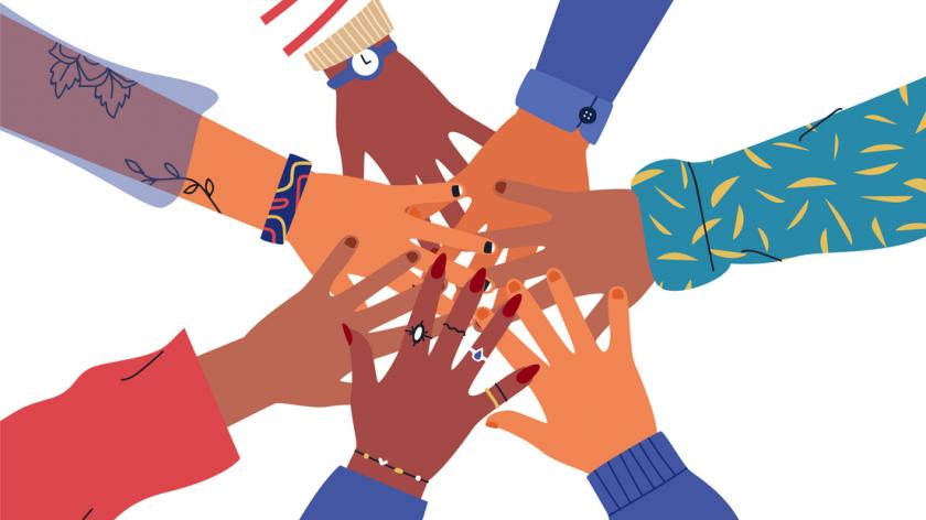 Friends high five concept. Illustration of people hands together for unity or diversity teamwork