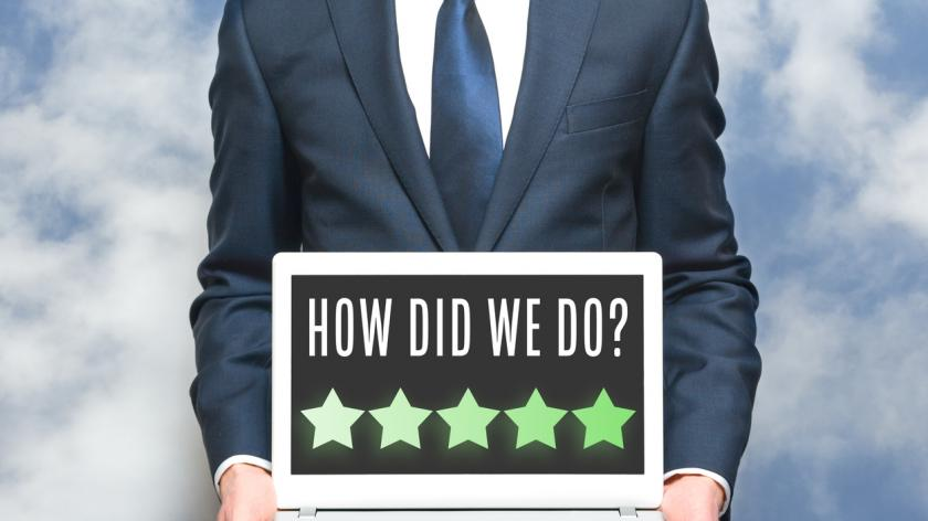 employee survey star rating on computer
