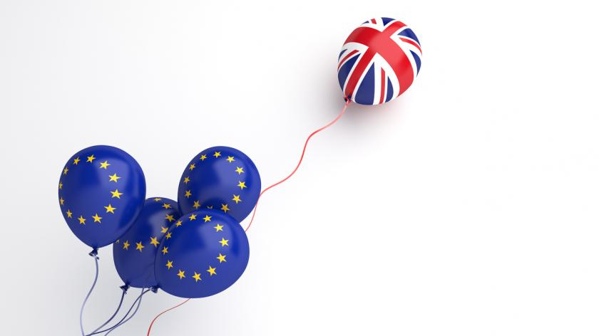 Brexit illustration creative concept, Flying balloon with European Union EU and United Kingdom UK flag on white background. 3D rendering.