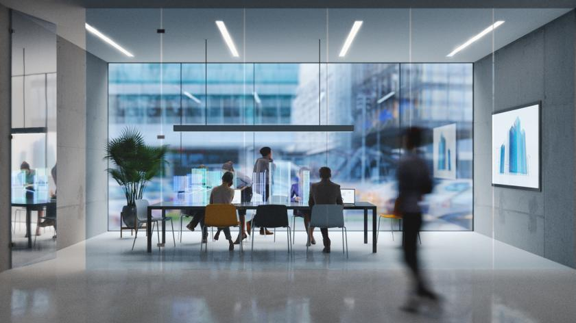 Group of people working in a modern board room with augmented reality interface, all objects in the scene are 3D