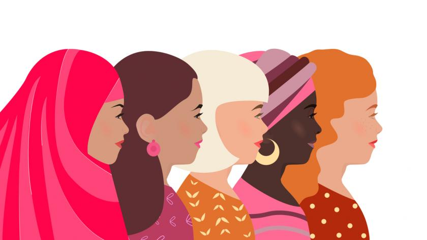 Women of different nationalities, faith and skin color together.