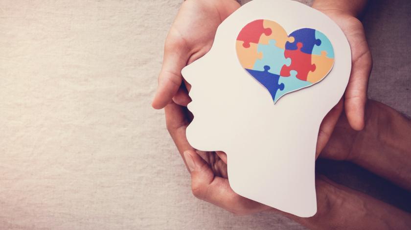 Puzzle jigsaw heart on brain, mental health concept