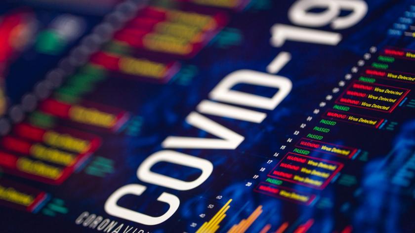 COVID-19 Coronavirus Charts and Graphs On Digital Display