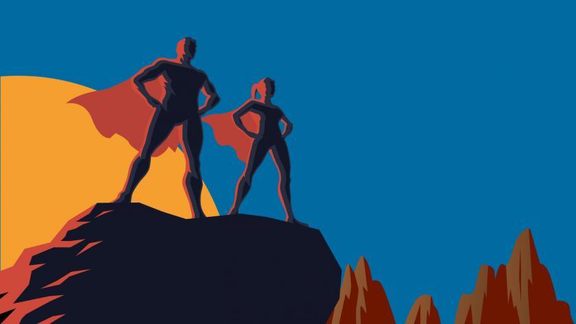 Retro superhero graphic