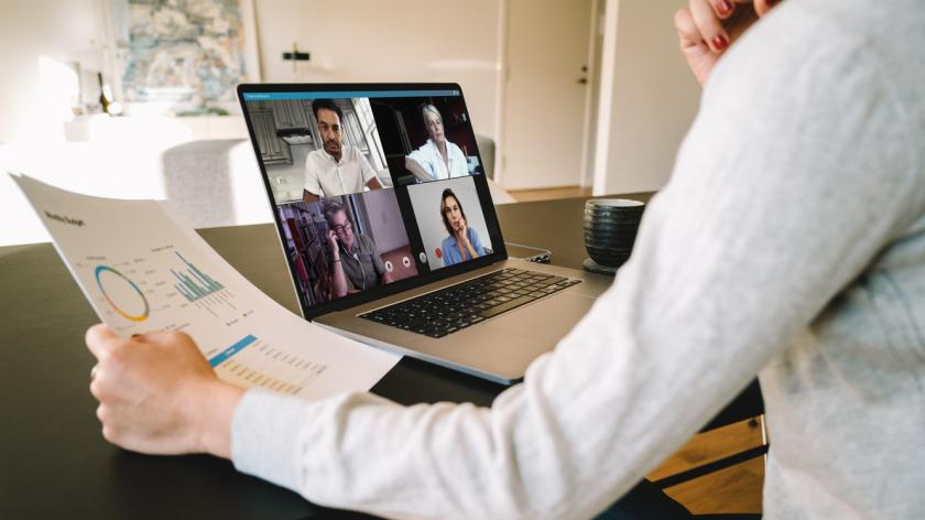 Remote micromanager on video call with team