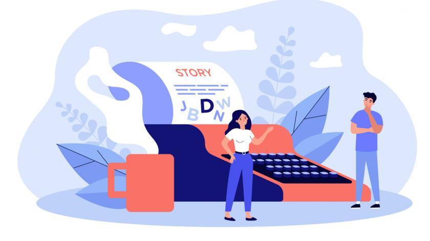 Type writer story telling graphic