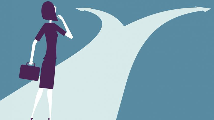 Vector illustration - Businesswoman At Crossroads Path