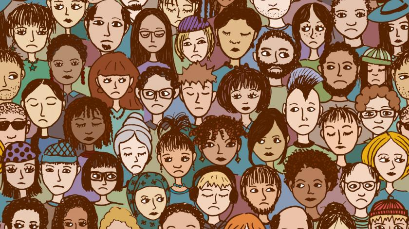 Seamless vector pattern of a crowd of unhappy people