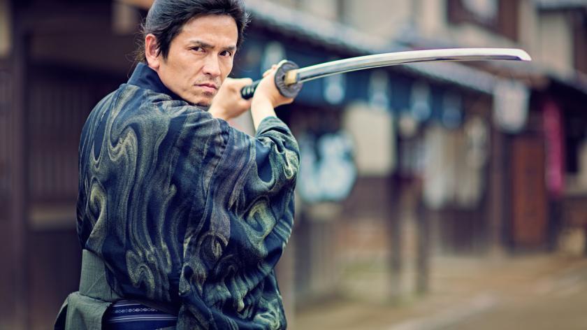 Samurai man with sword