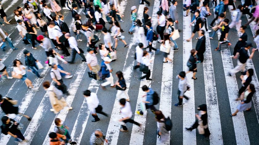 Crossing crowd