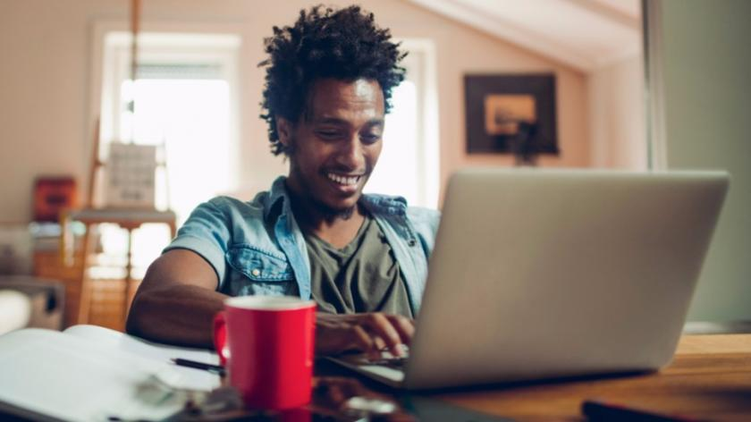 Young man working from home