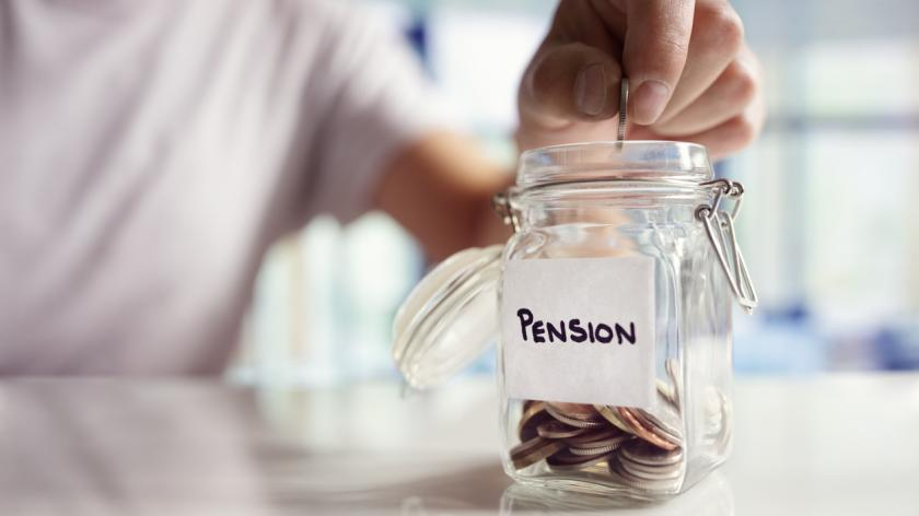 hands putting coins into a pot marked pension