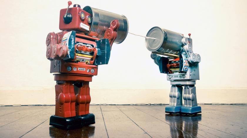 robots talking through a tin can