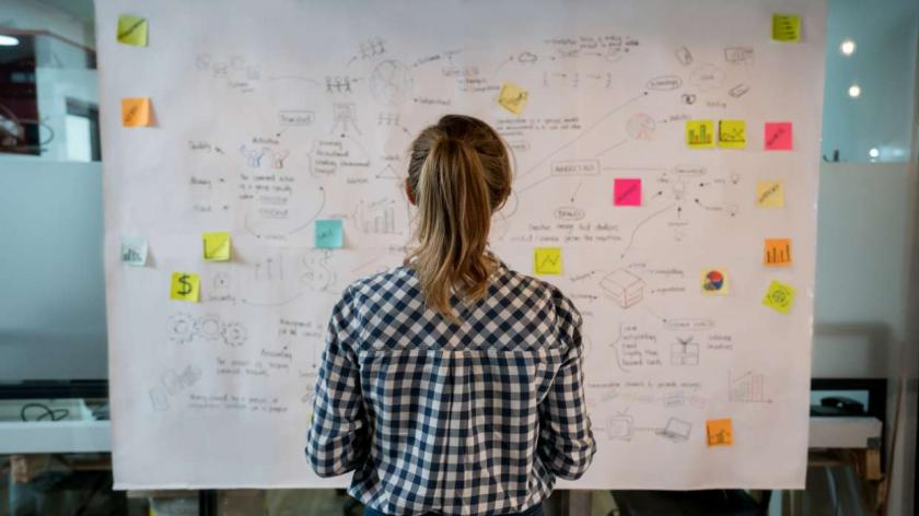 woman looking at strategy on post-it notes on a board