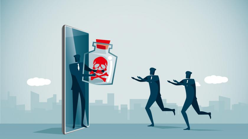 leader holding out toxic bottle to employees